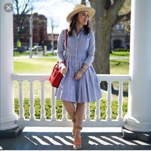 Eliza J cotton striped flare shirt dress